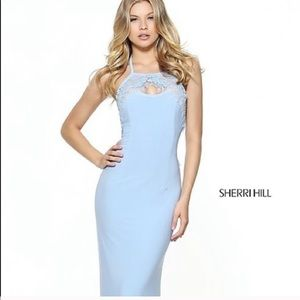 Sherri Hill Halter Light Blue Prom Dress